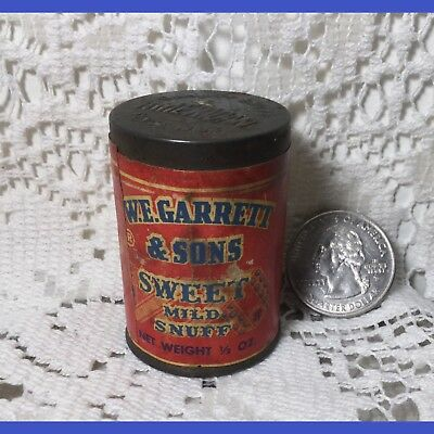 Vintage W.E. Garrett & Sons Sweet Mild Snuff Advertising Container Full Contents