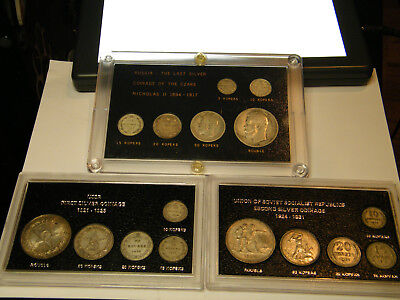 3 Sets The Last Silver Coinage Of The Czar, USSR First & Second Silver Coinage