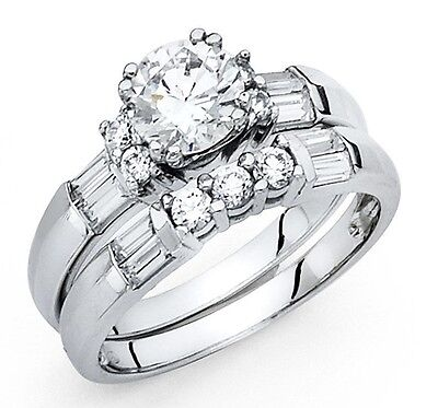 1 Ct Round Cut Diamond Engagement Wedding Ring Set 14K White Gold Bridal Set