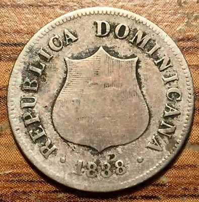 1888 A Dominican Republic 2 1/2 Centavos Coin Paris Mint