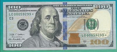 2009 A Low serial number star note $100 dollar bill LC 00059299 ZIP CODE