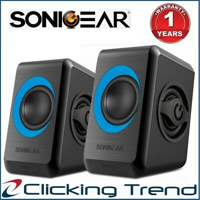 Computer Speakers SonicGear Quatro 2 USB Powered Bass Loud Style Speakers Blue