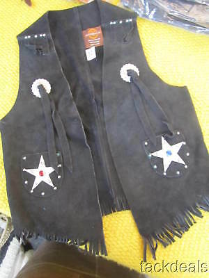 New Vintage Leather Western Cowboy Vest John R Craighead USA Made Kids 12 Black