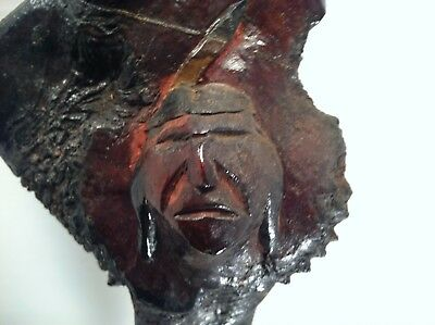 VINTAGE ! Indian Native  American  Carved WOOD ROOT CLUB - Mohawk ?  Iroquois ?
