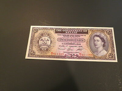 Gem Uncirculated 2 Dollars 1976 Banknote From Belize. Very High Value !!!