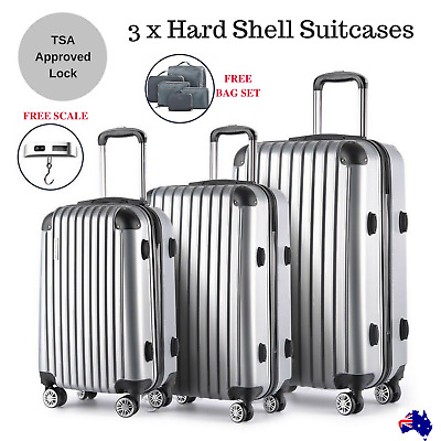 Silver Hard Shell Suitcase Set Luggage Suit Case Trolley Travel TSA Lock Scale
