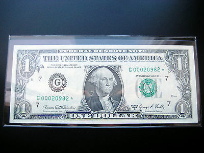 $1 1969 D***STAR***FEDERAL RESERVE NOTE CHOICE UNC NOTE LOW#ooo2o982
