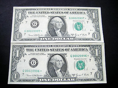 (2) $1 1969 D***STAR***CON# FEDERAL RESERVE NOTE CHOICE UNC NOTE LOW#ooo