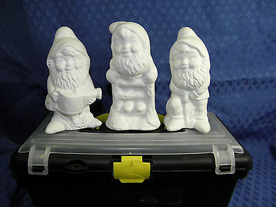 """""""My Gnomes x 3  Painting Kit"""" Ceramic Bisque Holiday Fun"""