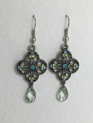 LOVELY sparkly DK SILVER PLATED DROP EARRINGS GREEN BLUE TURQUOISE GLASS STONES