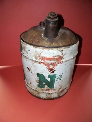 VINTAGE CONOCO Nth OIL 5 GALLON CAN METAL SIGN GARAGE GAS STATION DISPLAY