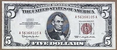 $5 1963 Red Seal Five Dollar Legal Tender Note, Fr-1536, Circulated, Nice!!