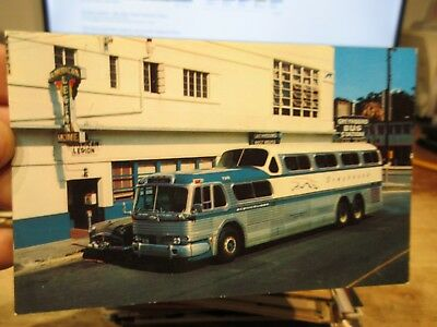 Vintage Old Postcard CAR AUTOMOBILE AUTO Greyhound Bus Station Depot Coach Ride