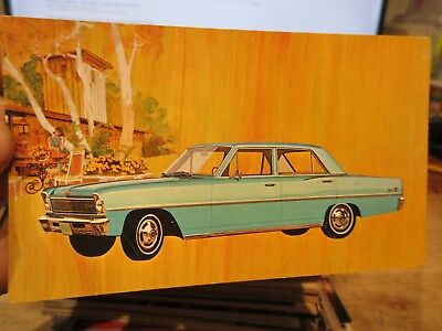 Vintage Old Postcard CAR AUTOMOBILE AUTO 1966 Chevrolet Chevy Nova II Sedan Blue