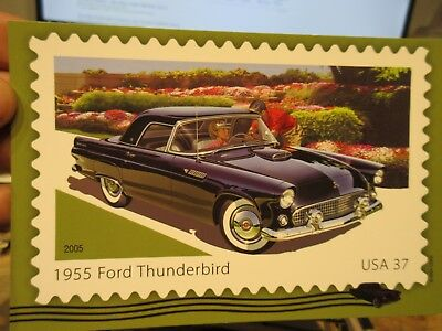 Vintage Old Postcard CAR AUTOMOBILE AUTO 1955 Ford Thunderbird 2005 Postage 37 c