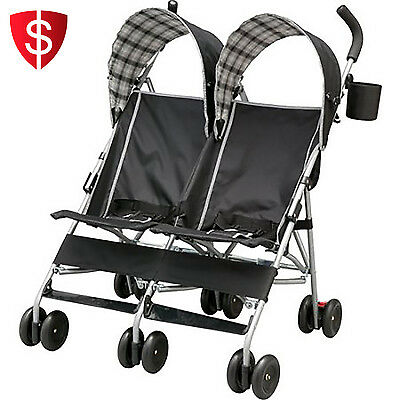 Baby Double Strollers Twin Seat Toddler Outdoor Cup Holder Side By Side Umbrella