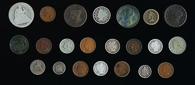 22 Old Usa Coins (1783-1914) Lg. Cent To Half Dollar > See Pictures > No Reserve