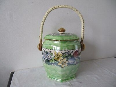 Maling Pottery Springtime Green Biscuit Barrel c1950