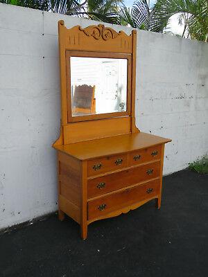 Late 1800s Solid Golden Oak Dresser and Mirror 8692
