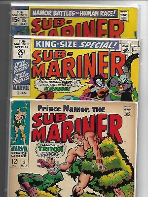3 x PRINCE NAMOR, THE SUB-MARINER LOT # 3 # 25 KING SIZE SPECIAL # 1  SILVER AGE