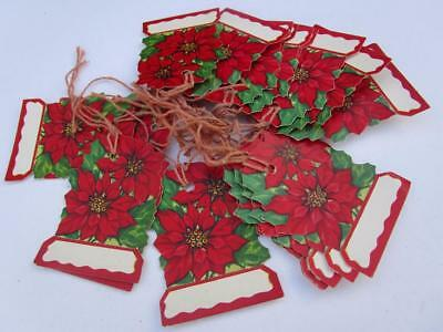 Vintage Dennison Style Die Cut Christmas Paper Gift Tag Lot  Poinsettia Flowers
