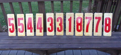11 Vintage Shell Gas Station Numbers Embossed Metal Signs