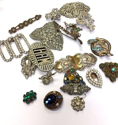 Large Vintage Art Deco Jewelry Lot with Paste Rhinesones For Repair