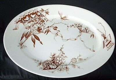 """Antique Brown Transferware """"java"""" By Anthony Shaw 19"""" Platter Rare England"""