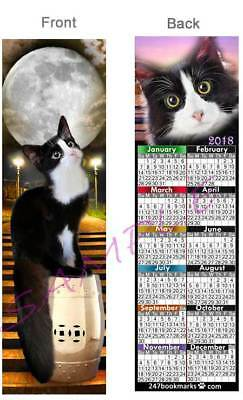 TUXEDO CAT LOVER 2017 CALENDAR BOOKMARK Black White SPOOKY Moon NIGHT Halloween