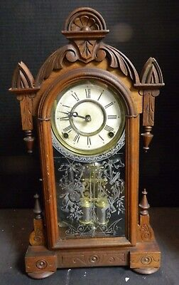 Antique Footed Walnut Wooden Gingerbread Bell Clock w/ Stenciled Glass Door VG