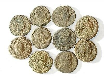 10 ANCIENT ROMAN COINS AE3 - Uncleaned and As Found! - Unique Lot 30801