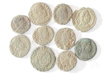 10 ANCIENT ROMAN COINS AE3 - Uncleaned and As Found! - Unique Lot 30702