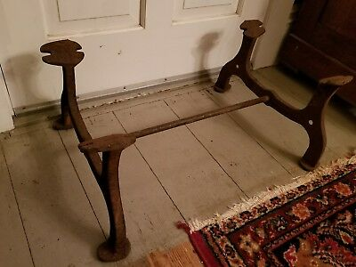 Antique Vintage Cast Iron Industrial Coffee Table  Bench Base Oil Drum Stand