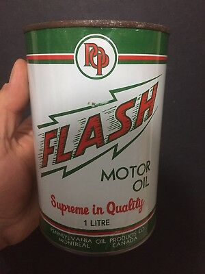 Very Rare Flash 1 Liter Motor Oil Imperial Quart Tin Can Sign Canada Advertising