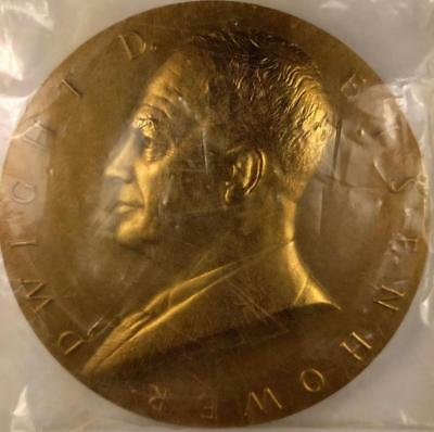 """Dwight D Eisenhower Atoms For Peace 3"""" Bronze Medal Us Mint Org Packing And Box"""