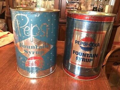 2 Different Pepsi Cola One Gallon  Fountain Syrup Can