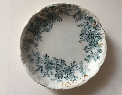 Antique W. H. Grindley Teal Blue Flowered with Gold Butter pat