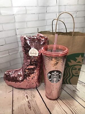 Starbucks 2017 PINK Rose Gold Cup Tumbler Glitter Sequin + Matching Stocking