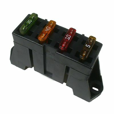 Delphi ATO ATC 4 Way Fuse Block Panel Holder With Terminals 12v