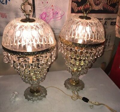 Vintage Table Lamp Crystal Chandelier Set Of Two