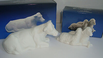 Lot of 2 Avon Porcelain Nativity Holy Family Christmas  The Sheep & The Cow