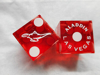 Pair of Closed NEW ALADDIN (white lamp) LV Casino Dice - Clear Red, Mixed #s