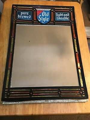 Rare Vintage - Heileman's Old Style Embosograph Beer Mirror Sign