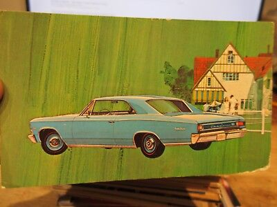 Vintage Old Postcard CAR AUTOMOBILE AUTO 1966 Chevrolet Chevy Chevelle Coupe 396