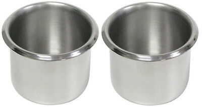 2 PC Stainless Steel Silver Drop-In Poker Table Cup Holder-Standard Regular Size