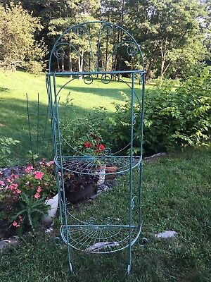 Vintage Metal Folding Plant Stand Green Chippy Paint