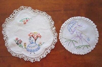 Vintage Crinoline Lady Hand Embroidered Doily Two