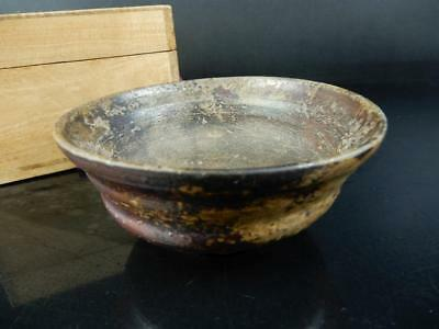 J2110: Japanese Old Bizen-ware Youhen pattern TEA BOWL Toko Konishi made w/box