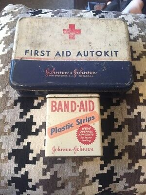 Vintage First Aid Auto kit And Band-Aid Tin