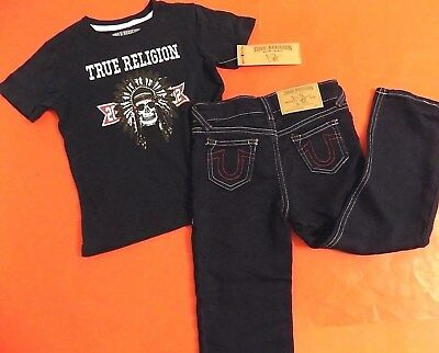 Toddler 4T Boys 2017 True Religion Brand Jeans & Tee T Shirt Set Indian Chief 4
